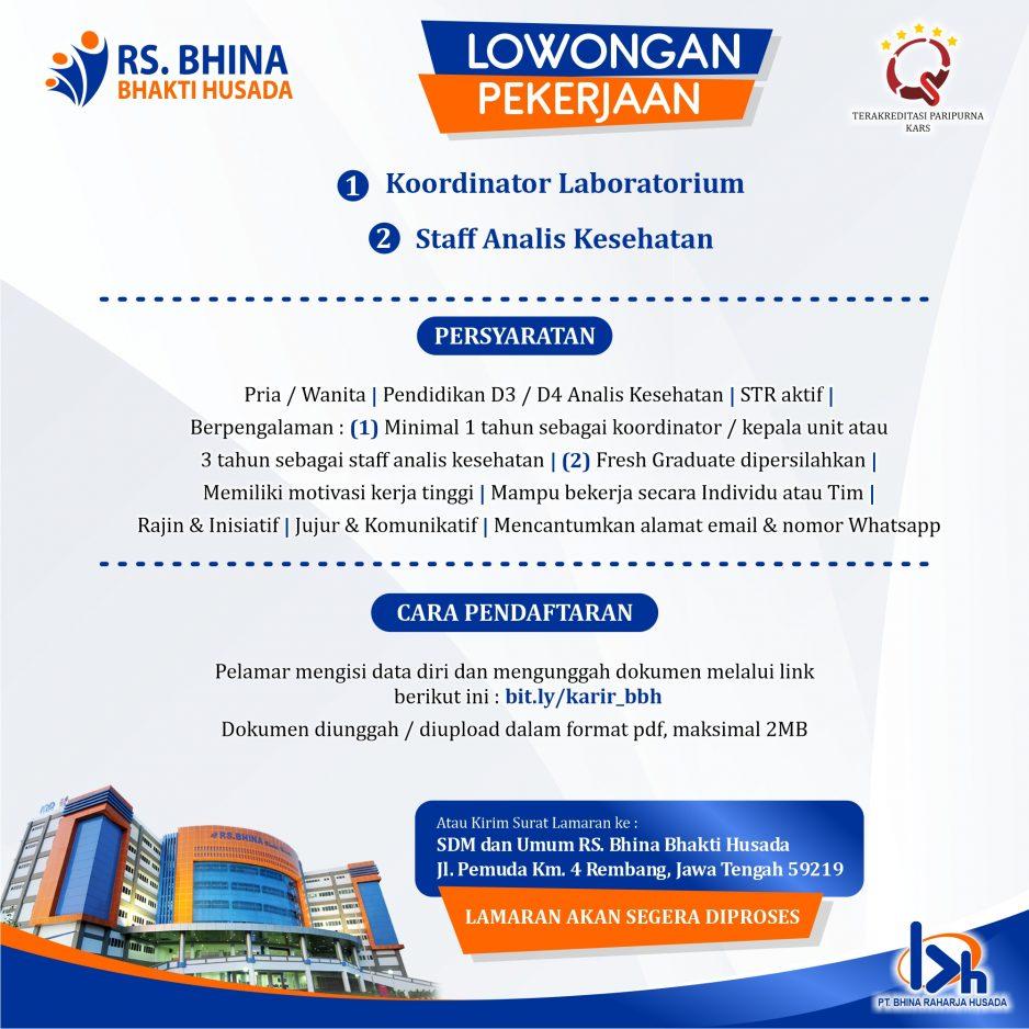 Koordinator Laboratorium & Staff Analis Kesehatan