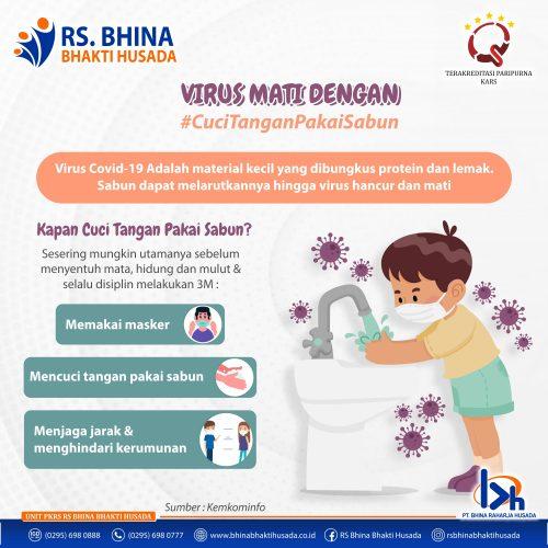 Virus mati dengan cuci tangan pakai sabun
